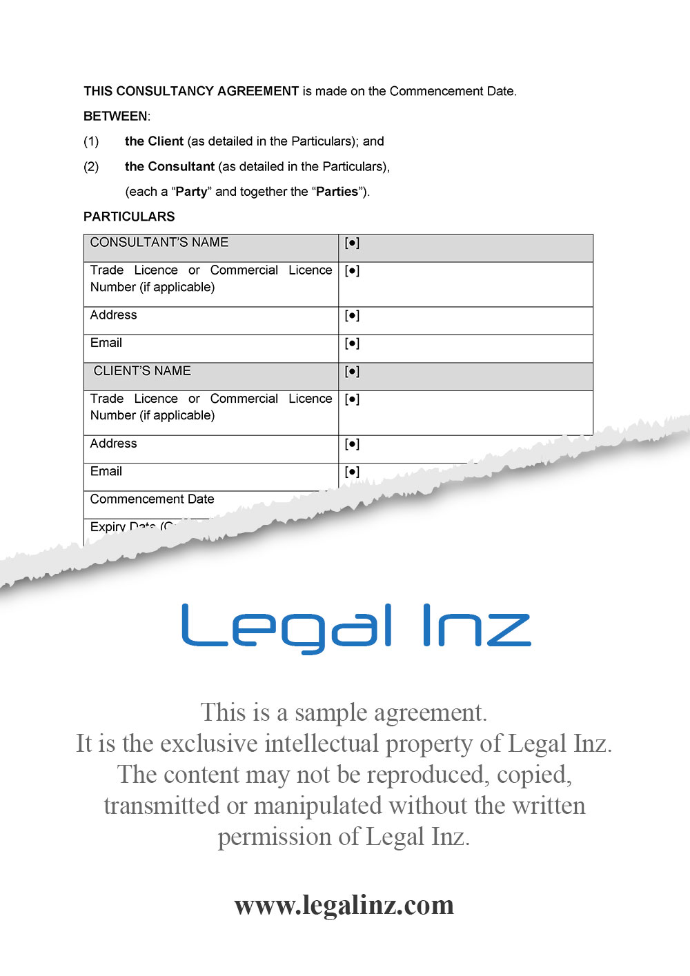 Consultancy Agreement Sample 1