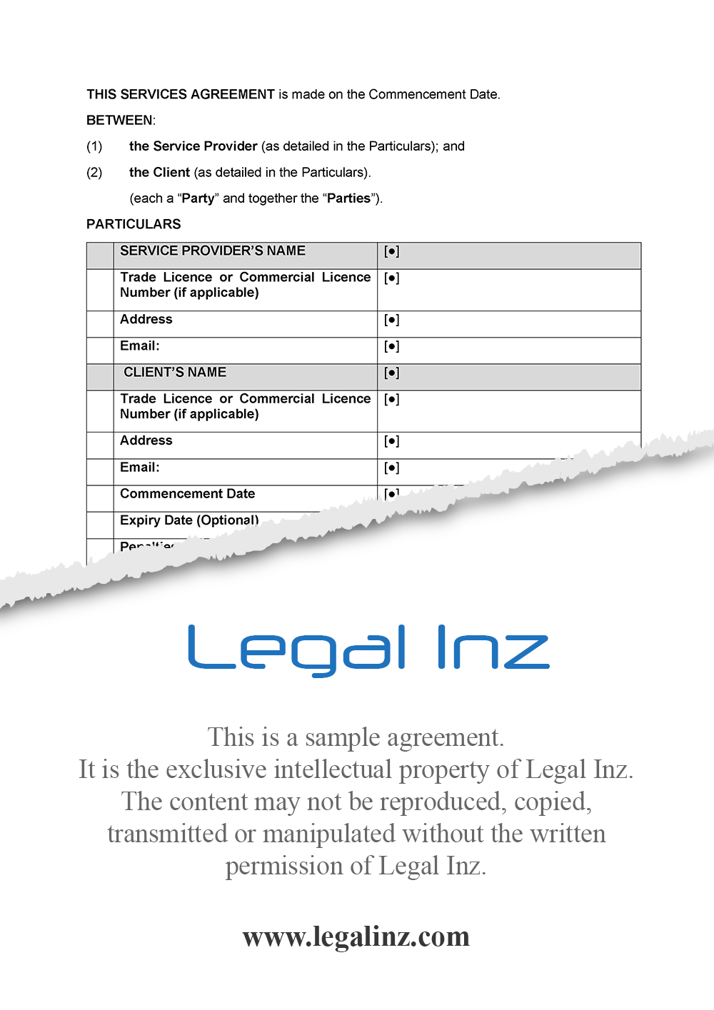 Services Agreement Sample 1
