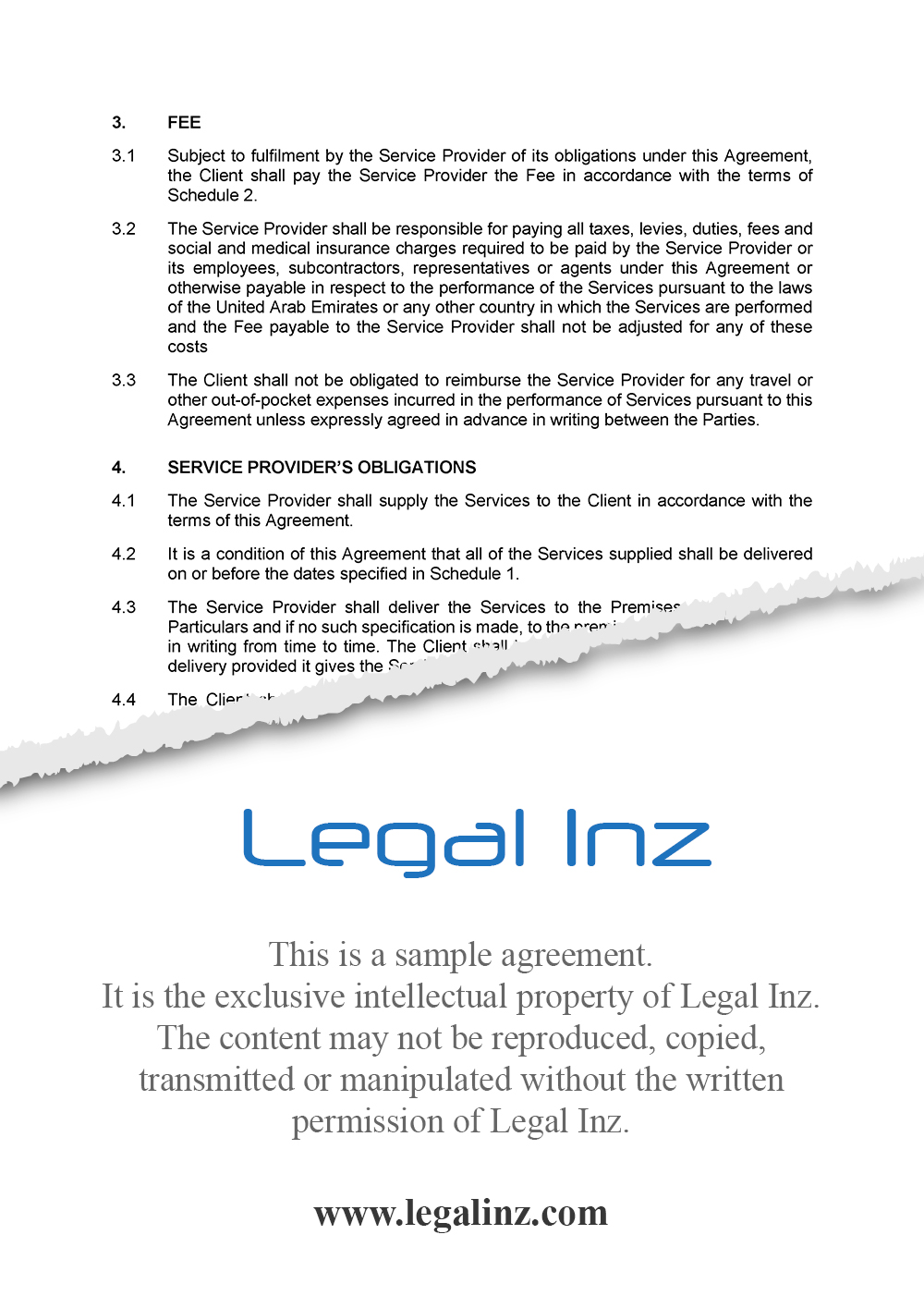 Services Agreement Sample 4
