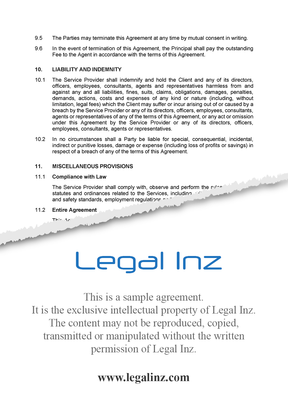 Services Agreement Sample 6